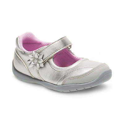 EUC Stride Rite Marien Silver Toddler Girls' Mary Jane Shoes