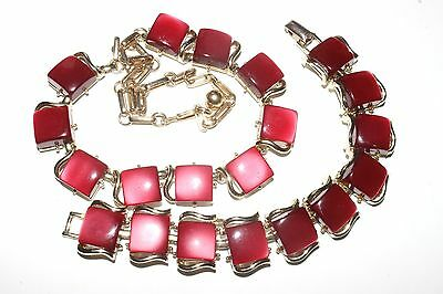 Vintage CORO cherry red thermoset necklace bracelet set square moonglow lucite