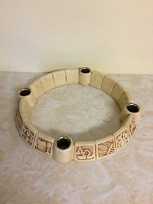 """Vintage Abbey Press 11 1/2"""" Round Advent Candle Holder Carved Resin MIB"""