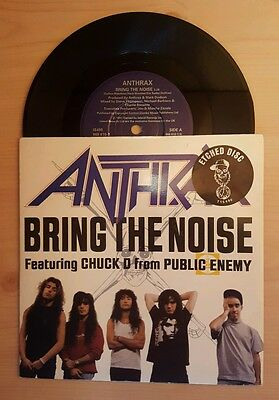 """Anthrax & Chuck D from Public Enemy Bring The Noise Rare Etched 7"""" Vinyl Single"""
