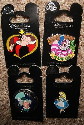 Disney Alice error in Wonderland Cheshire Cat Queen Hearts Mad Hatter 4 Pin Set
