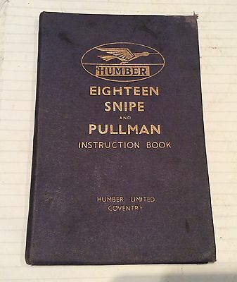 Humber 18/Snipe/Pullman Instruction Book