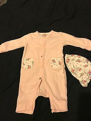 Cath Kidston Play suit And Hat - 0-3 Months  - VGC