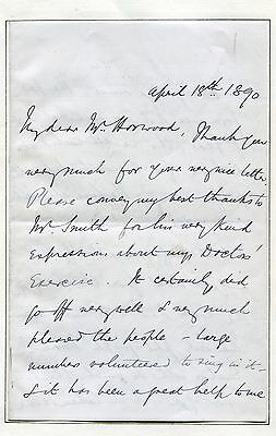 Frederick Iliffe, Early Composer, Conductor Signed Letter 1890