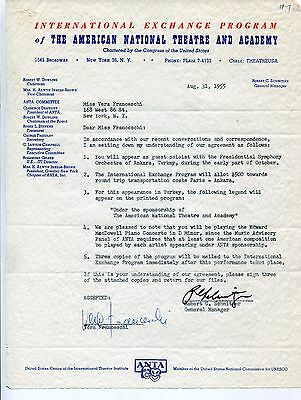 Pianist Vera Franceschi Signed Contract and Letter