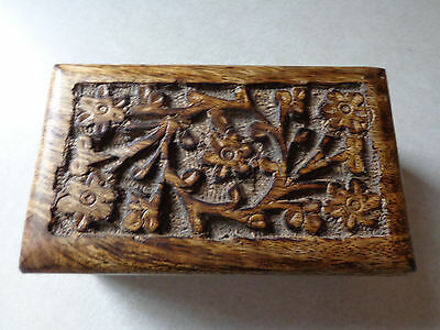Wooden Keepsake Box With Floral Carving on Lid