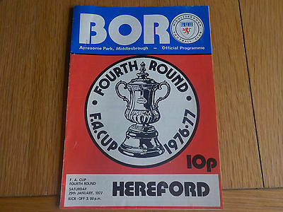 Vintage Programme: Middlesbrough v Hereford FA Cup 4th Round 29.01.77