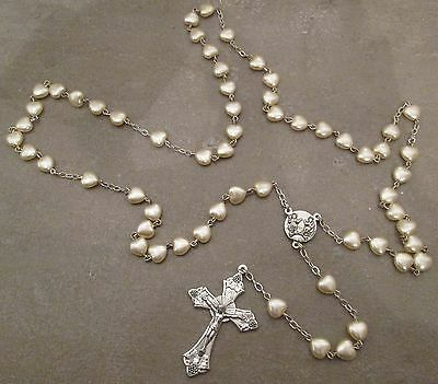 Vintage Silver Plated Catholic Rosary Beads (Pearls Heart Shaped) With Cross