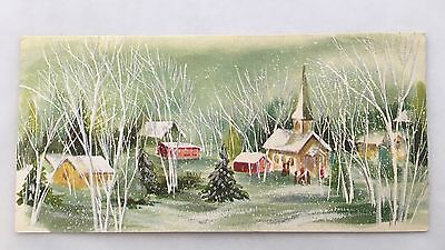 Vintage Hallmark Christmas Card People Church Houses Snow Shiny Silver Accents