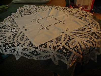 Vintage Lace White Tablecloth or Topper