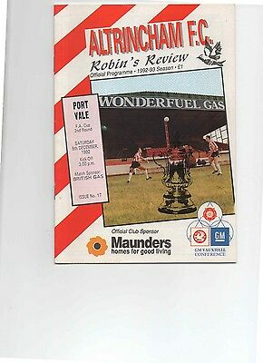 92/93 Altrincham V Port Vale (Fa.cup 2Nd Round)