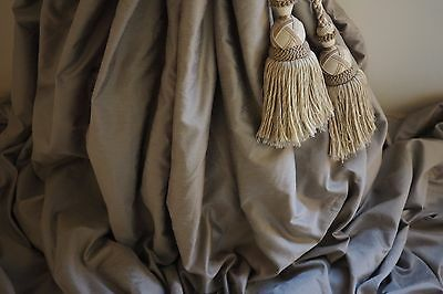 """3 PAIRS   EXQUISITE SILK OYSTER MINK INTERLINED CURTAINS  49""""/104"""" W x 124"""" LONG"""