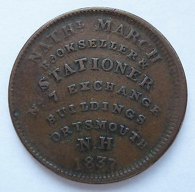 1837 Hard Times Token ~ March / Simes - Portsmouth Nh ~ Ht194 / Low 124 ~ Rare 1