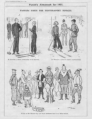 Vintage 1930 Punch SKIING FASHION Cartoon
