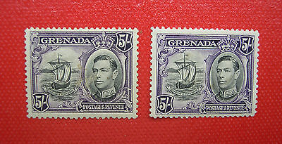 Grenada 1938 KGVI 5/- Stamp Only Both are Mint Hinge Removed