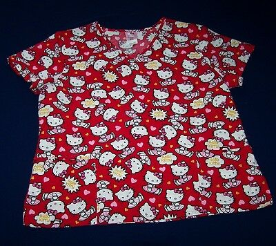 Hello Kitty Scrub Top Xl Red + Lots Of Sitting Hello Kitty's Pk Dresses And Bows