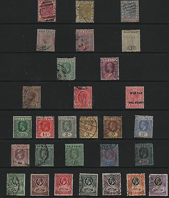 Gold Coast Queen victoria to GV selection used stamps on hagner values to 2s6d