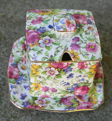 ROYAL WINTON CHINTZ - Vintage Summertime Ascot Jampot with Underplate and Lid