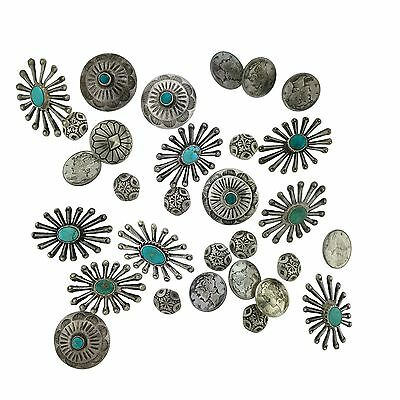 Native American Sterling Silver Buttons Collection 30 MIXED LOT