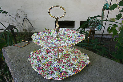 ROYAL WINTON CHINTZ - Vintage Summertime Two Tier Serving Plates & Metal Risers