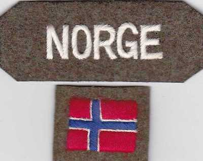 WW2 NORGE Free Norwegian shoulder title and sleeve flag, reproduction