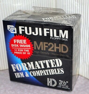 "New Never Opened Sealed Fujifilm Mf2Hd High Density 3-1/2"" Floppy Disks 11 Disks"