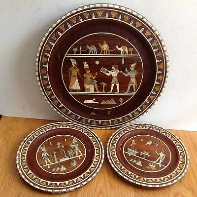 ANTIQUE SET OF EGYPTIAN WOODEN INLAID WALL PLAQUES - c.1890s.