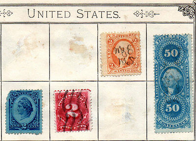 OLD STAMP SHEET CONTAINING USA STAMPS INCLUDING 50c. CONFERENCE - 1860s ONWARDS