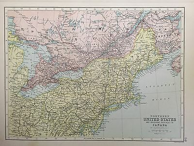 Antique Map Of Northern United States Canada