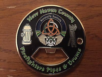 New Haven County (CT) Firefighters Emerald Society Pipe Band Challenge Coin