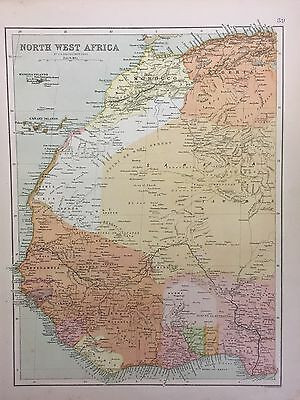 Antique Map Of North West Africa c.1900 Bartholomew