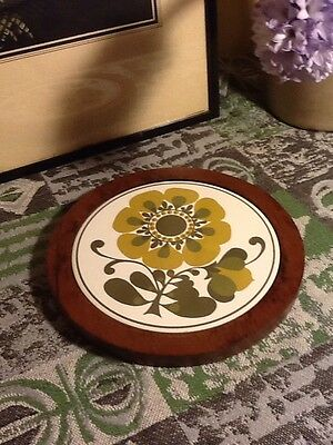 Fabulous Retro Teak Tiled Trivet/Chopping Board-Funky Flowers  #3273