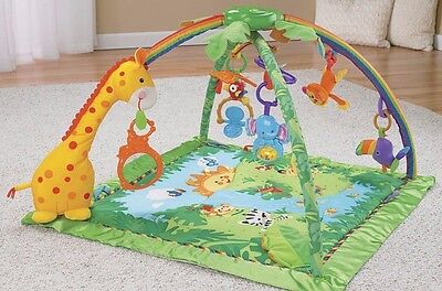 New baby Fisher Price Rainforest Melodies and Lights Gym playmat