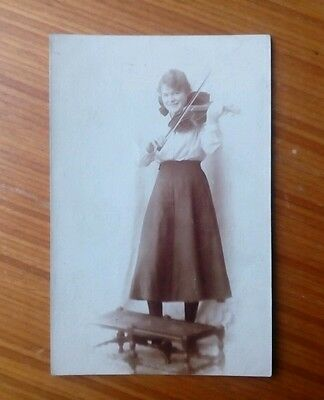 Vintage* Lady with a violin and bow.