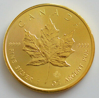 2016 1Oz Canadian Maple Leaf Full Gold Gilded .999 Silver Coin