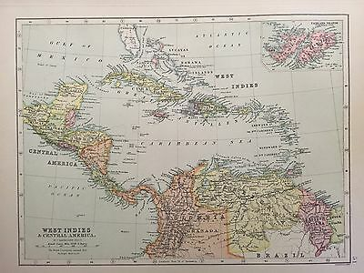 Antique Map of West Indies And Central America c.1900 Bartholomew