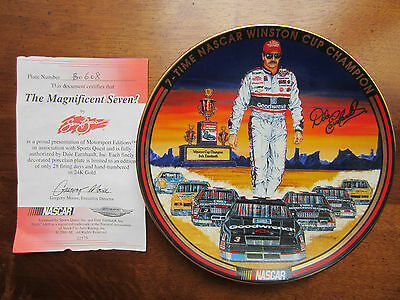 """Dale Earnhardt """"Magnificent Seven"""" numbered in 24 Kgld Porcelain Plate #B0608"""