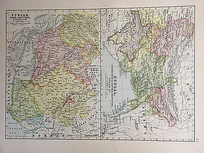 Antique Map Of Bengal And Punjab India c.1900 Bartholomew