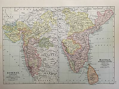 Antique Map Of Bombay And Madras India c.1900 Bartholomew