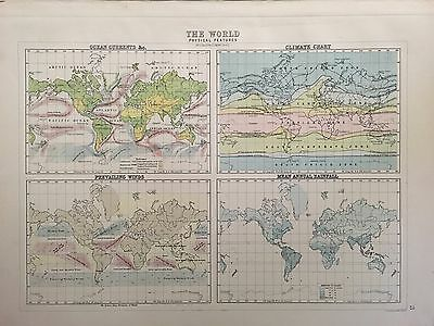 Antique Map Of World Ocean Current Climate Prevailing Wind Rainfall c.1900