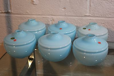 6 Vintage Murano Blue Opaline Lamp Bases Parts Fonts Pair Mid Century Glass
