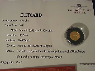 Solid Gold Rare Pure Gold 9999 24ct Mongolion 1000 Togrog Coin
