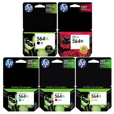 GENUINE NEW HP 564XL Ink Cartridge 5-Pack