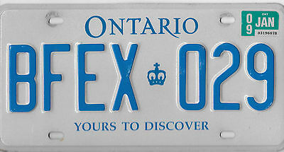2009 Ontario Canada 7 Digit License Plate # Bfex 029 Yours To Discover Nice