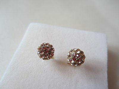 9ct Yellow Gold Stud Earrings with Crystals