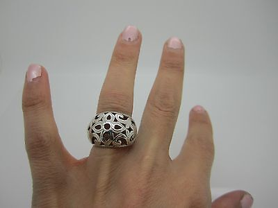 Size L Vintage Stunning Solid Silver Pierced Flower Celtic Heavy Ring Mark 925