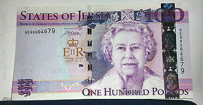 £100 States Of Jersey Diamond Jubilee Commemorative Banknote Uncirculated
