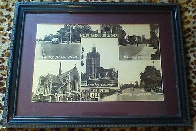 "Historical Framed Picture Print Greetings from Barnet , 21½"" x 16"""