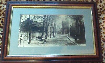 "Historical Framed Picture Print Old Street Scene, 23"" x 15"""