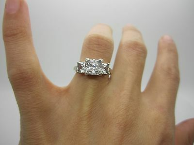 STUNNING SOLID SILVER ENGAGEMENT PRINCESS CUT Ring with BEAUTIFUL 3 SQUARE STONE